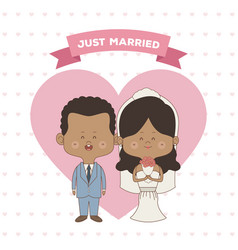 Greeting card pattern of hearts of just married vector