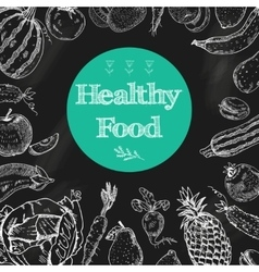 Healthy food chalkboard background vector