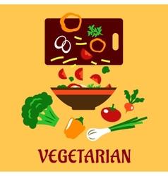 Healthy vegetarian cuisine flat concept vector