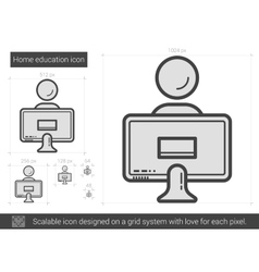 Home education line icon vector