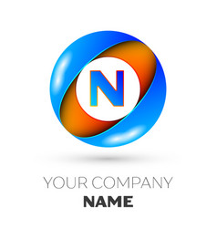 letter n logo symbol in the colorful circle vector image