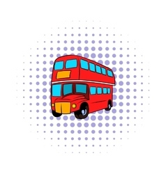 London double decker red bus icon comics style vector