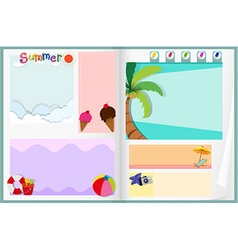 Paper design with summer theme vector