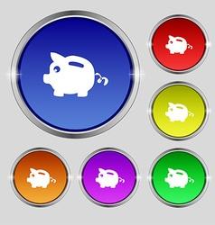 Piggy bank icon sign round symbol on bright vector