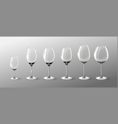 Realistic empty wine glasses collection vector