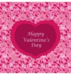 Red floral valentine card vector image vector image