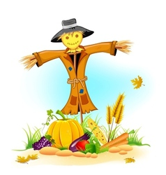 Scarecrow with Vegetable vector image vector image