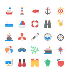 sea life flat icons vector image