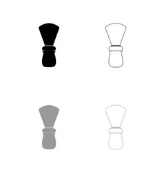 shaving brush black and grey set icon vector image vector image