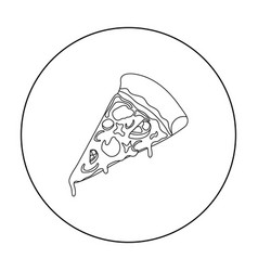 slice of pizza icon in outline style isolated on vector image vector image