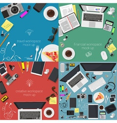 Top view workplaces vector image