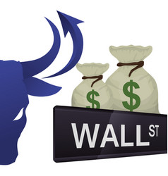 Wall street new york bag money vector