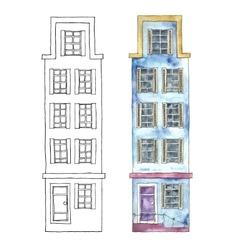 Watercolor cartoon buildings vector