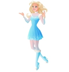 Woman in winter fairy costume presenting showing vector image