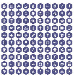 100 coffee icons hexagon purple vector