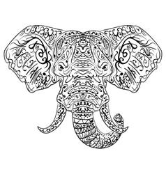 Zentangle ethnic indian elephant boho paisley vector
