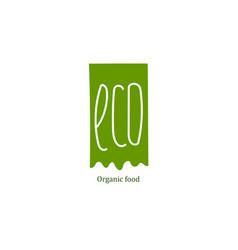 Eco food label at green backdrop vector