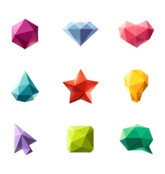 Polygonal geometric figures - set of elements vector