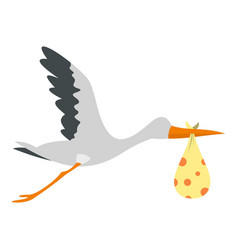 Flying stork with a bundle icon isolated vector