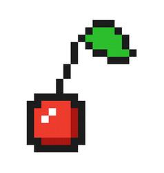Pixel art cherry icon game fruit vector