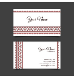 Business card template with stylish cross-stitch vector