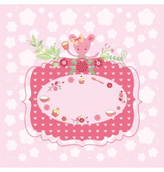 Pink birthday greeting card vector