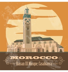 Kingdom of morocco landmarks hassan iii mosque in vector