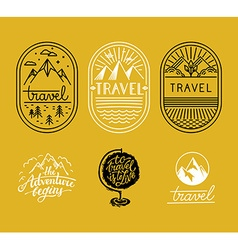 Set of linear badges in trendy linear style vector