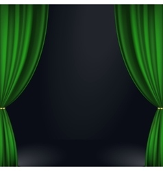 Stage green curtain vector