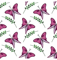 Pattern with violet butterflies and branches with vector