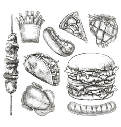 Fast food sketches vector