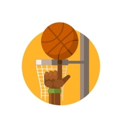 Basketball round sticker vector