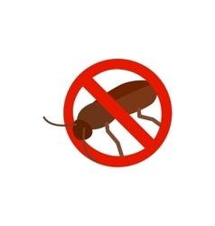 Warning sign with cockroach icon vector