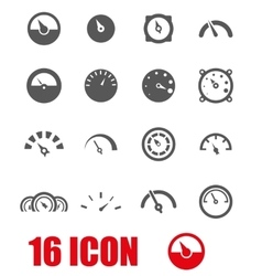 Grey meter icon set vector