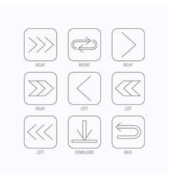 Arrows icons download repeat linear signs vector
