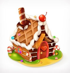 Gingerbread house sweet food icon vector