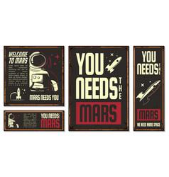 Astronaut retro poster vector