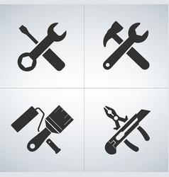 cross tools icon set vector image