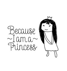 cute doodle style princess vector image vector image