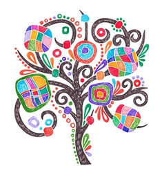 Doodle marker hand drawing of ornate tree vector