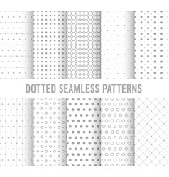 Dotted seamless patterns collection vector