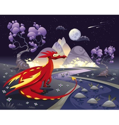 Dragon in landscape in the night vector