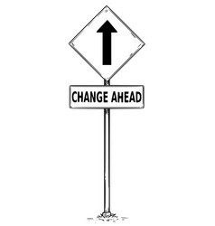 drawing of one way arrow traffic sign with change vector image