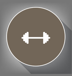 dumbbell weights sign white icon on brown vector image vector image