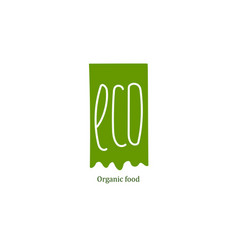 Eco food label at green backdrop vector