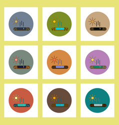 Flat icons set of cracked earth and evaporation of vector