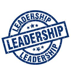 Leadership blue round grunge stamp vector