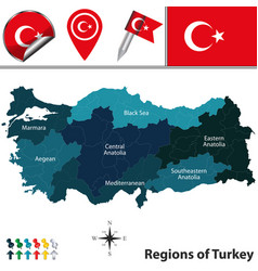 map of turkey with regions vector image vector image
