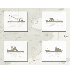 map with ships vector image vector image