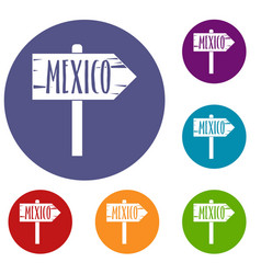 Mexico wooden direction arrow sign icons set vector